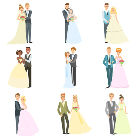 Couples Posing Together On Wedding Day Bright Color Cartoon Simple Style Flat Vector Set Of Stickers Isolated On White Background