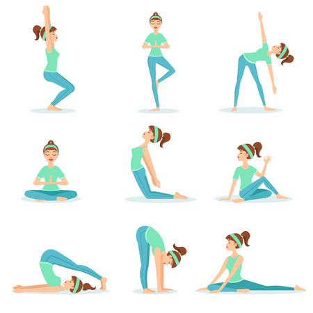 plow: Girl In Blue Training Clothes Demonstrating Yoga Asana. Set Of Simple Childish Design Illustrations With Female Character Doing Yoga Poses. Isolated Vector Stickers On White Background.