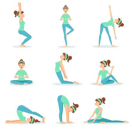 Mädchen im blauen Trainingskleidung Demonstrieren Yoga Asana. Satz von einfachen Childish Design Illustrationen mit weiblichem Charakter tun Yoga-Haltungen. Isolierte Vektor-Aufkleber auf weißem Hintergrund. Standard-Bild - 67199502