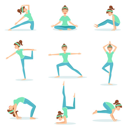Girl In Blue Training Clothes Demonstrating Yoga Postures. Set Of Simple Childish Design Illustrations With Female Character Doing Yoga Poses. Isolated Vector Stickers On White Background.