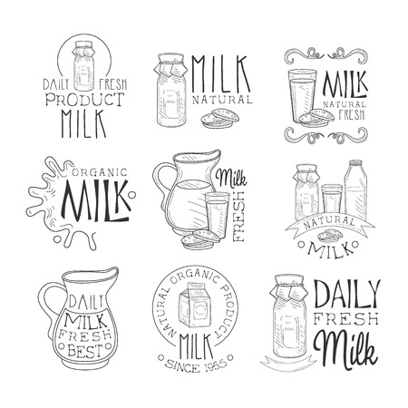 milk products: Best Organic Milk Product Set Of Hand Drawn Black And White Sign Design Templates With Calligraphic Text. Collection Of Promotion Ads For Daily Farm Milk Of Premium Quality In Monochrome Vector Sketch Style Illustrations.