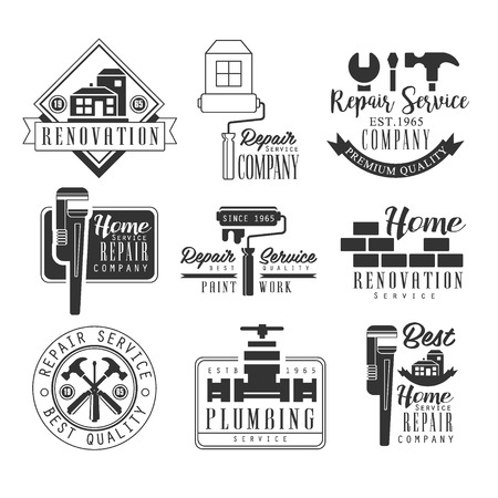 repairing: Plumbing And Repairing Service Black And White Sign Design Templates With Text And Tools Silhouettes. Collection Of Monochrome Vector Emblems For Repair Company Advertisement. Illustration