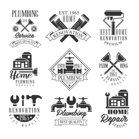 repairing: Plumbing And Repairing Service Black And White Sign Design Templates With Text And Instrument Silhouettes. Collection Of Monochrome Vector Emblems For Repair Company Advertisement.
