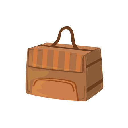 luggage pieces: Brown Square Box Like Handbag Item From Baggage Bag Cartoon Collection Of Accessories. Personal Travel Luggage Piece Isolated Vector Icon.