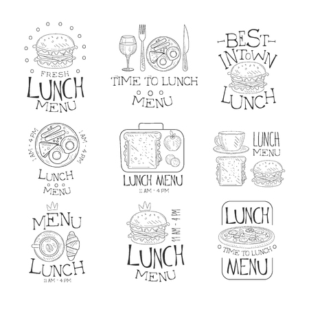 Best In Town Lunch Menu Set Of Hand Drawn Black And White Sign Design Templates With Calligraphic Text. Collection Of Promotion Ads For Restaurant Or Cafe Serving Lunch Meals In Monochrome Vector Sketch Style Illustrations. Ilustração
