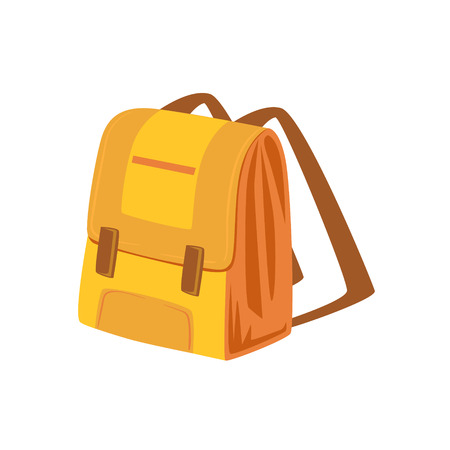 luggage pieces: Yellow And Beige School Backpack Item From Baggage Bag Cartoon Collection Of Accessories. Personal Travel Luggage Piece Isolated Vector Icon. Illustration