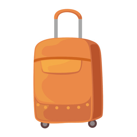 Brown Suitcase On Wheels With Telescopic Handle Item From Baggage Bag Cartoon Collection Of Accessories. Personal Travel Luggage Piece Isolated Vector Icon. Illustration