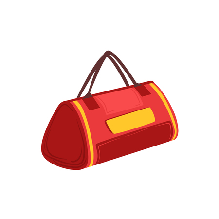 luggage pieces: Red Soft Sportive Handbag With Double Handles Item From Baggage Bag Cartoon Collection Of Accessories. Personal Travel Luggage Piece Isolated Vector Icon. Illustration