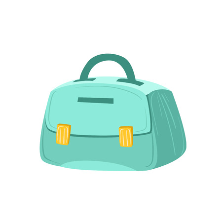 luggage pieces: Small Blue Female Purse Item From Baggage Bag Cartoon Collection Of Accessories. Personal Travel Luggage Piece Isolated Vector Icon.