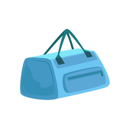 luggage pieces: Small Blue Sportive Handbag With Two Handles Item From Baggage Bag Cartoon Collection Of Accessories. Personal Travel Luggage Piece Isolated Vector Icon.