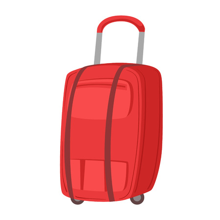 Big Red Suitcase On Wheels With Telescopic Handle Item From Baggage Bag Cartoon Collection Of Accessories. Personal Travel Luggage Piece Isolated Vector Icon.