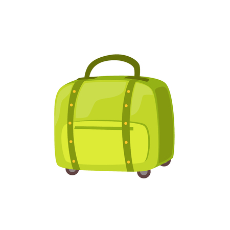 luggage pieces: Small Green Suitcase On Wheels Item From Baggage Bag Cartoon Collection Of Accessories. Personal Travel Luggage Piece Isolated Vector Icon.