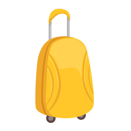 Stylish Yellow Suitcase On Wheels With Telescopic Handle Item From Baggage Bag Cartoon Collection Of Accessories. Personal Travel Luggage Piece Isolated Vector Icon. Illustration