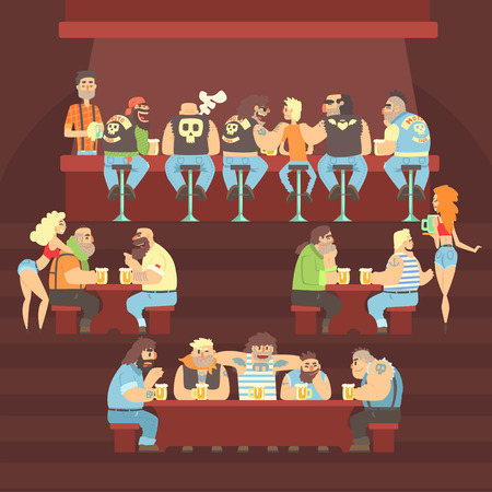 Dark Bar With Criminal Looking Bikers And Sailor Clients And Slutty Waitresses Serving Beers Illustration. Night Pub Where Muscly Men Meet To Drink Alcohol Drinks Cartoon Vector Scene.