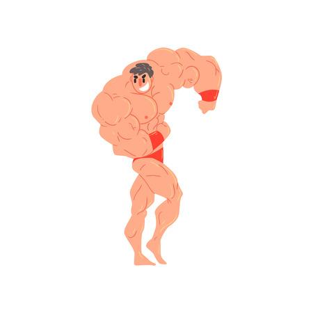 blown: Man In Red Briefs And Wristlets Bodybuilder Funny Smiling Character On Steroids Demonstrating Muscles As Strongman Routine. Muscly Man Showing Off In Muscleman Contest Vector Cartoon Illustration
