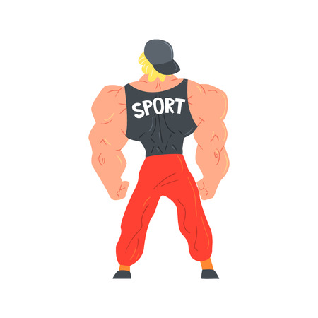 strongman: Man In Red Sportive Pants And Cap Bodybuilder Funny Smiling Character On Steroids Demonstrating Muscles As Strongman Routine. Muscly Man Showing Off In Muscleman Contest Vector Cartoon Illustration