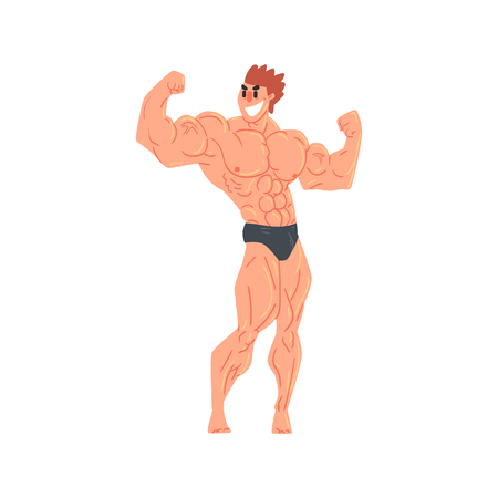 Man In Black Briefs Bodybuilder Funny Smiling Character On Steroids Demonstrating Muscles In Rear Double Biceps Pose As Strongman Routine. Muscly Man Showing Off In Muscleman Contest Vector Cartoon Illustration