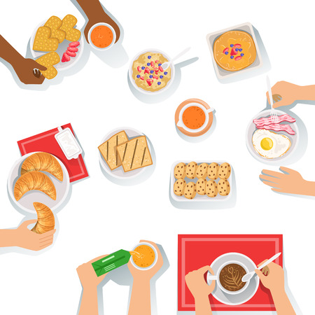 People Having Breakfast Morning Meal Together With Different Sets Of Drinks And Food Cartoon Illustration. Collection Of Different Breakfast Styles Including French, English And Continental.