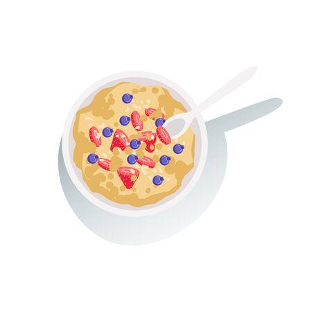 오트밀 죽 신선한 딸기와 함께 클래식 아침 식사 제품 및 메뉴 항목입니다. 평범한 아침 식사의 컬렉션의 부분 요리 벡터 만화 일러스트 레이 션.