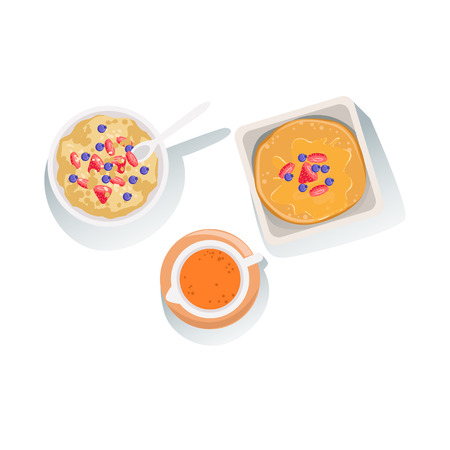 usual: Porridge, Pancakes And Orange Juice Set Of Classic Breakfast Food Products And Menu Items. Part Of Collection Of Usual Morning Meal Dishes Vector Cartoon Illustrations.