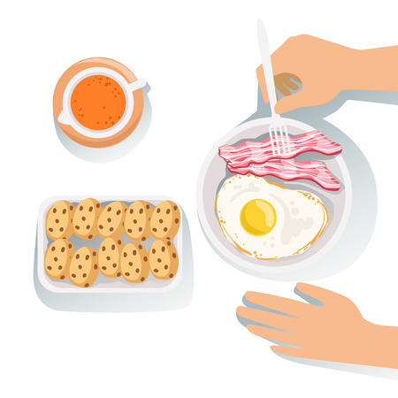 Bacon, Egg, Cookies And Orange Juice Set Of Classic Breakfast Food Products And Menu Items. Part Of Collection Of Usual Morning Meal Dishes Vector Cartoon Illustrations.v Illustration