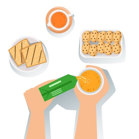 usual: Toasts, Juice And Cookies Set Of Classic Breakfast Food Products And Menu Items. Part Of Collection Of Usual Morning Meal Dishes Vector Cartoon Illustrations.