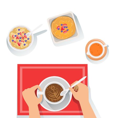 usual: Pancakes, Porridge And Coffee Classic Breakfast Food Products And Menu Items. Part Of Collection Of Usual Morning Meal Dishes Vector Cartoon Illustrations.