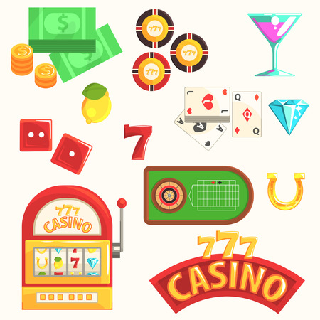 roulette table: Gambling And Casino Night Club Set Of Symbols, Including Cards, Dices , Roulette Table, Chips And Slot Machine. Cartoon Gaming Club Classic Elements Vector Illustrations Collection.