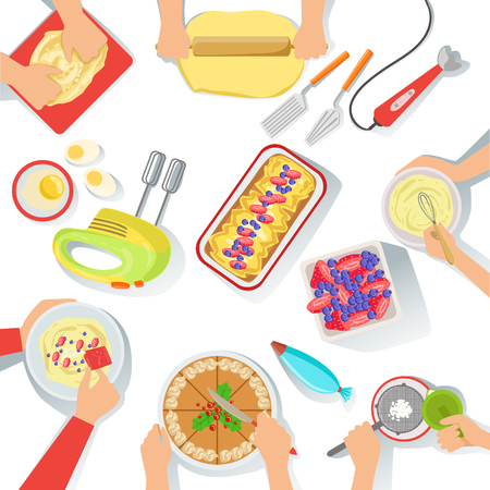 bolter: People Cooking Sweet Pastry Together View From Above, Food Preparation Class Process. Vector Illustration With Only Hands Visible and Different Kitchen Attributes And Cooking Ingredients On White Background.