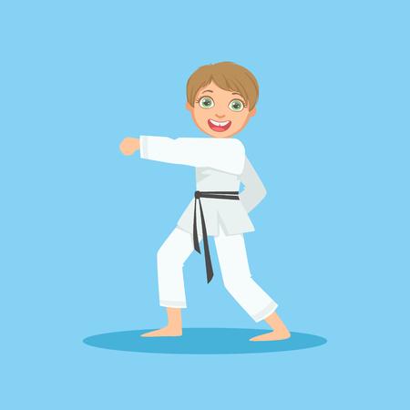 El muchacho que hace retroceso Puño En Blanco Kimono En Karate Martial Sports Art Formación personaje de dibujos animados sonriente linda. Parte de los combatientes para niños en el tradicional asiática Karate traje Colección de ilustraciones del vector.