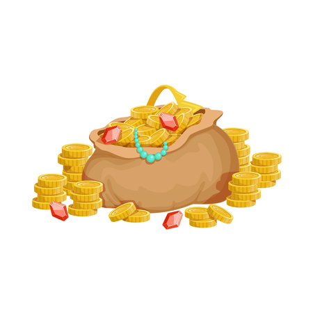 Big Sack With Golden Coins And Jewelry, Hidden Treasure And Riches For Reward In Flash Came Design Variation. Cartoon Cute Vector Illustration With Isolated Treasury Object For Bonus Element In Video Games. Illustration