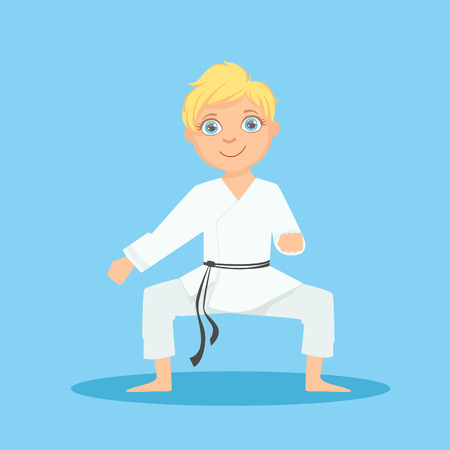 Boy In White Kimono In Defensive Stance On Karate Martial Art Sports Training Cute Smiling Cartoon Character. Part Of Kids Fighters In Traditional Asian Karate Outfit Collection Of Vector Illustrations