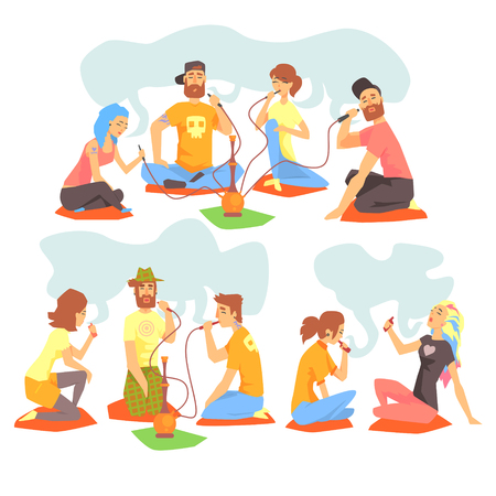 crossed cigarette: Young Cool People Smoking Hookah And Electronic Cigarettes Sitting On The Floor Set Of Illustration With Smokers And Vapers. Carton Vector Characters Using Alternative Ways To Smoke Tobacco. Illustration