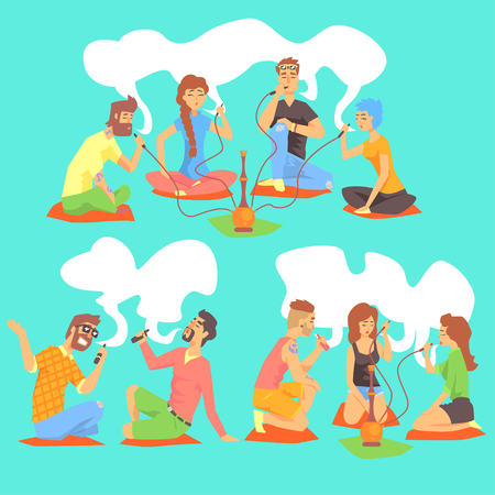 crossed cigarette: Young Hipsters Smoking Hookah And Electronic Cigarettes Sitting On The Floor Set Of Illustration With Smokers And Vapers. Carton Vector Characters Using Alternative Ways To Smoke Tobacco.