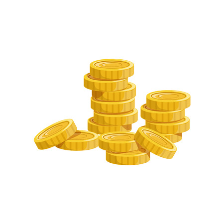 Pile Of Golden Coins, Hidden Treasure And Riches For Reward In Flash Came Design Variation. Cartoon Cute Vector Illustration With Isolated Treasury Object For Bonus Element In Video Games. Illustration