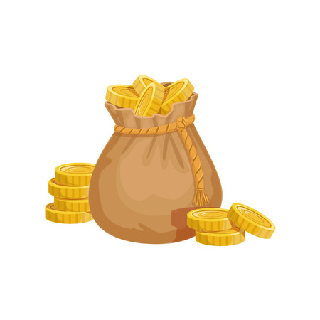came: Small Sack With Golden Coins, Hidden Treasure And Riches For Reward In Flash Came Design Variation. Cartoon Cute Vector Illustration With Isolated Treasury Object For Bonus Element In Video Games.