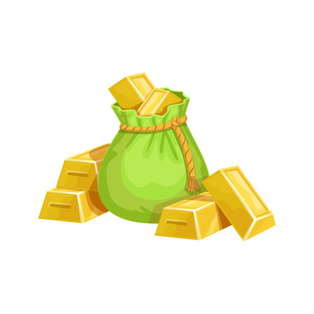came: Small Sack With Golden Bars, Hidden Treasure And Riches For Reward In Flash Came Design Variation. Cartoon Cute Vector Illustration With Isolated Treasury Object For Bonus Element In Video Games.