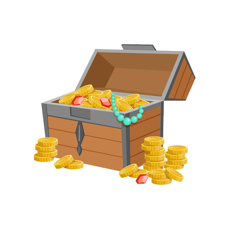 came: Half Open Pirate Chest With Golden Coins And Jewelry, Hidden Treasure And Riches For Reward In Flash Came Design Variation. Cartoon Cute Vector Illustration With Isolated Treasury Object For Bonus Element In Video Games.