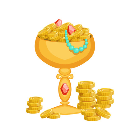came: Golden Goblet With Gold Coins And Jewelry,Hidden Treasure And Riches For Reward In Flash Came Design Variation. Cartoon Cute Vector Illustration With Isolated Treasury Object For Bonus Element In Video Games. Illustration