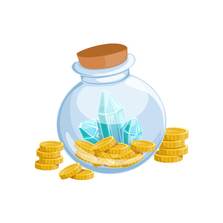 Sealed Glass Jar With Golden Coins And Blue Crystal Gems,Hidden Treasure And Riches For Reward In Flash Came Design Variation. Cartoon Cute Vector Illustration With Isolated Treasury Object For Bonus Element In Video Games.
