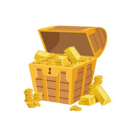 came: Half Open Pirate Chest With Golden Bars, Hidden Treasure And Riches For Reward In Flash Came Design Variation. Cartoon Cute Vector Illustration With Isolated Treasury Object For Bonus Element In Video Games. Illustration