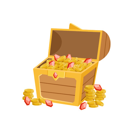 Half Open Pirate Chest With Golden Coins And Rubies, Hidden Treasure And Riches For Reward In Flash Came Design Variation. Cartoon Cute Vector Illustration With Isolated Treasury Object For Bonus Element In Video Games.