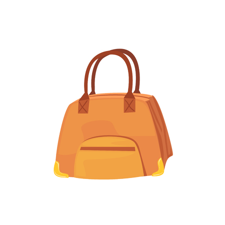 luggage pieces: Female Brown Leather Handbag Item From Baggage Bag Cartoon Collection Of Accessories. Personal Travel Luggage Piece Isolated Vector Icon.