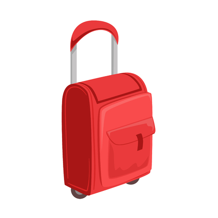 luggage pieces: Small Red Suitcase With Pockets On Wheels With Telescopic Handle Item From Baggage Bag Cartoon Collection Of Accessories. Personal Travel Luggage Piece Isolated Vector Icon. Illustration