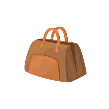 leather bag: Open Leather Female Purse Item From Baggage Bag Cartoon Collection Of Accessories. Personal Travel Luggage Piece Isolated Vector Icon.