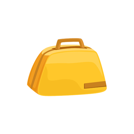 luggage pieces: Stylish Yellow Female Handbag Item From Baggage Bag Cartoon Collection Of Accessories. Personal Travel Luggage Piece Isolated Vector Icon. Illustration
