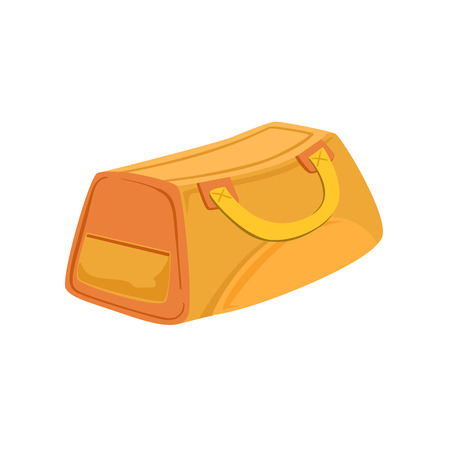 luggage pieces: Yellow And Beige Sports Handbag Item From Baggage Bag Cartoon Collection Of Accessories. Personal Travel Luggage Piece Isolated Vector Icon.
