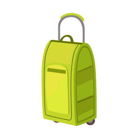 luggage pieces: Large Green Suitcase On Wheels With Telescopic Handle Item From Baggage Bag Cartoon Collection Of Accessories. Personal Travel Luggage Piece Isolated Vector Icon.