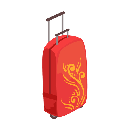 Red Large Suitcase On Wheels With Telescopic Handle And Decorative Pattern Item From Baggage Bag Cartoon Collection Of Accessories. Personal Travel Luggage Piece Isolated Vector Icon.