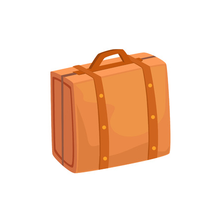 luggage pieces: Old-School Man Leather Handbag Case Item From Baggage Bag Cartoon Collection Of Accessories. Personal Travel Luggage Piece Isolated Vector Icon.